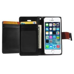 Rich diary PU kožené puzdro pre iPhone SE / 5s / 5 - hnedé - 3