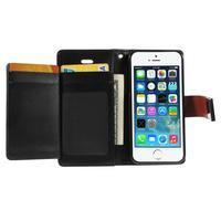 Rich diary PU kožené pouzdro na iPhone SE / 5s / 5 - hnědé - 3/7