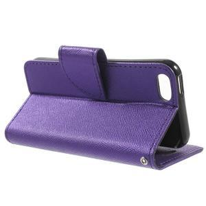 Cross PU kožené pouzdro na iPhone SE / 5s / 5 - fialové - 3