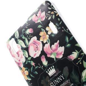 Kvetinový gélový obal pre mobil Lenovo A7000 / K3 Note - čierné pozadie - 3