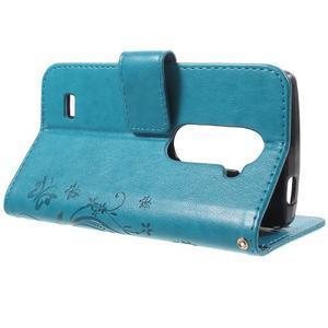 Buttefly PU kožené pouzdro na mobil LG Leon - modré - 3
