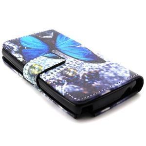 Style peňaženkové puzdro pre LG Leon - modrý motýľ - 3