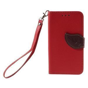 Leaf PU kožené pouzdro na mobil LG Leon - červené - 3