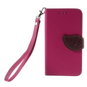 Leaf PU kožené pouzdro na mobil LG Leon - rose - 3