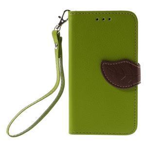 Leaf PU kožené pouzdro na mobil LG Leon - zelené - 3