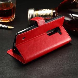 Peňaženkové PU kožené puzdro pre LG Spirit - červené - 3