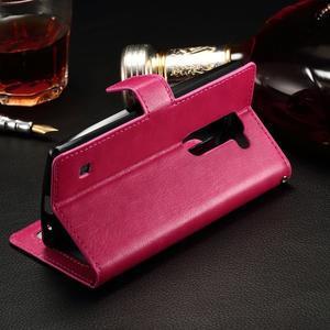 Peňaženkové PU kožené puzdro na LG Spirit - rose - 3