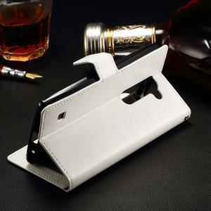 Peňaženkové PU kožené puzdro na LG Spirit - biele - 3