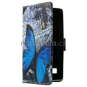 Peňaženkové puzdro na LG Spirit - modrý motýľ - 3