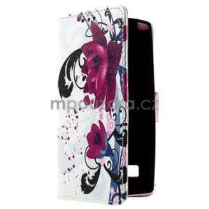 Peňaženkové puzdro na LG Spirit - fialové kvety - 3