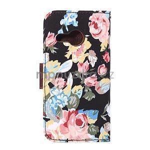 Kvetinové peňaženkové púzdro na HTC One Mini 2 - čierne - 3