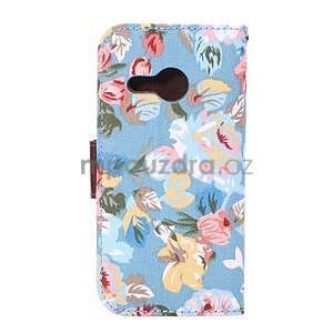 Kvetinové peňaženkové púzdro na HTC One Mini 2 -  modré - 3