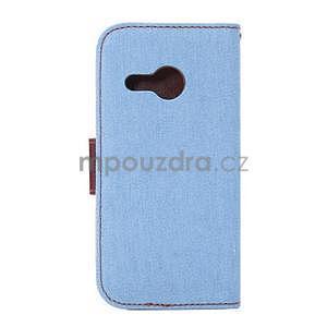 Jeans peňanžekové puzdro pre HTC One Mini 2 - svetlomodre - 3
