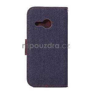 Jeans peňanžekové puzdro pre HTC One Mini 2 - tmavomodre - 3