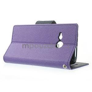 Style peňaženkové puzdro HTC One Mini 2 - fialové - 3