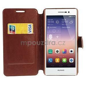 Peňaženkové puzdro pre Huawei Ascend P7 - hnedé - 3