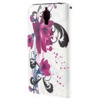 Cross peňaženkové puzdro na Xiaomi Mi4 - fialové květy - 3/7