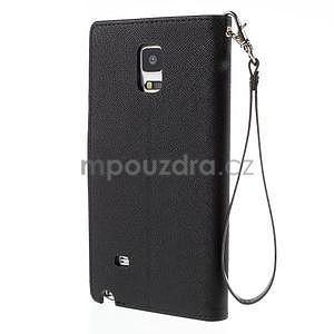 Stylové peňaženkové puzdro na Samsnug Galaxy Note 4 - čierne - 3