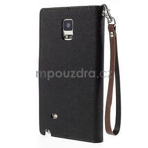 Stylové peňaženkové puzdro na Samsnug Galaxy Note 4 - čierne/hnedé - 3