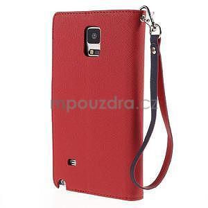 Štýlové peňaženkové puzdro pre Samsnug Galaxy Note 4 - červené - 3