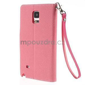 Stylové peňaženkové puzdro na Samsnug Galaxy Note 4 -  ružové - 3