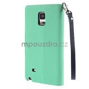 Štýlové peňaženkové puzdro pre Samsnug Galaxy Note 4 -  azúrové - 3