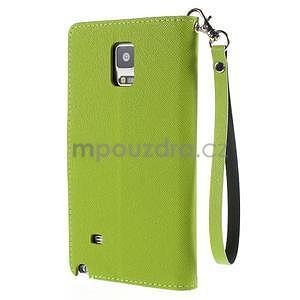 Štýlové peňaženkové puzdro pre Samsnug Galaxy Note 4 -  zelené - 3