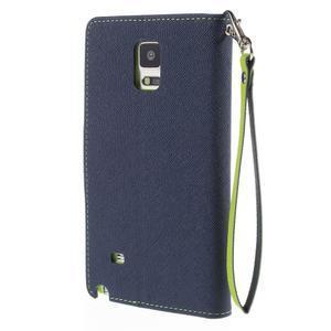 Stylové peňaženkové puzdro na Samsnug Galaxy Note 4 -  tmavomodre - 3