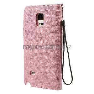 Zapínací peneženkové poudzro Samsung Galaxy Note 4 - ružové - 3