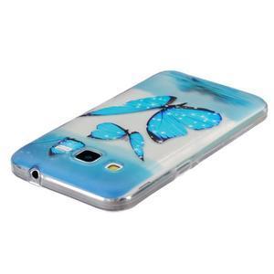 Transparentný gélový obal pre Samsung Galaxy Core Prime - modré motýle - 3
