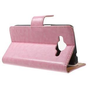 Horse PU kožené puzdro pre mobil Samsung Galaxy Core Prime - ružové - 3