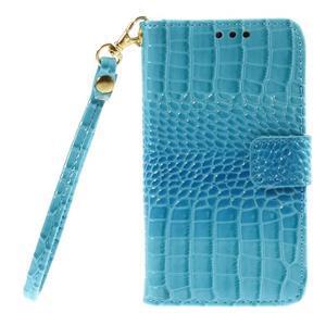 Croco peňaženkové puzdro pre Samsung Galaxy Core Prime - modré - 3