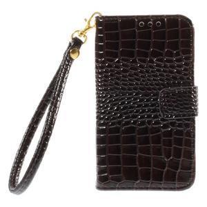 Croco peňaženkové puzdro pre Samsung Galaxy Core Prime - coffee - 3