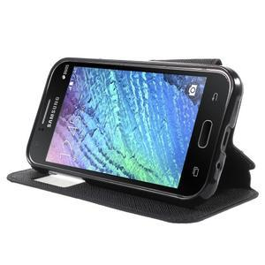Kožené puzdro s okýnkem Samsung Galaxy J1 - čierné - 3