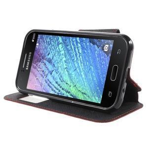 Kožené puzdro s okienkom Samsung Galaxy J1 - červené/čierné - 3