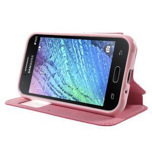 Kožené puzdro s okienkom Samsung Galaxy J1 - rose/ružové - 3