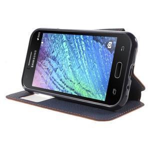 Kožené puzdro s okýnkem Samsung Galaxy J1 - oranžové/tmavě modré - 3
