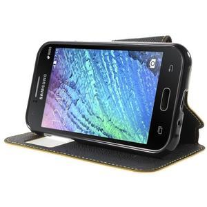 Kožené puzdro s okienkom Samsung Galaxy J1 - žlté/čierné - 3