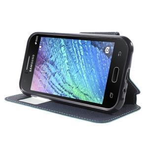 Kožené puzdro s okýnkem Samsung Galaxy J1 - světle modré/tmavě modré - 3