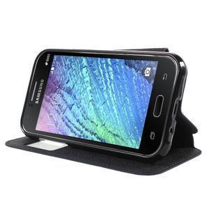 Kožené puzdro s okýnkem Samsung Galaxy J1 - tmavě modré/čierné - 3
