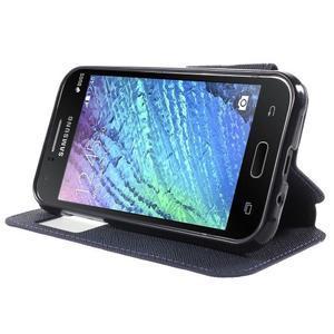 Kožené puzdro s okienkom Samsung Galaxy J1 - fialové/tmavo modré - 3