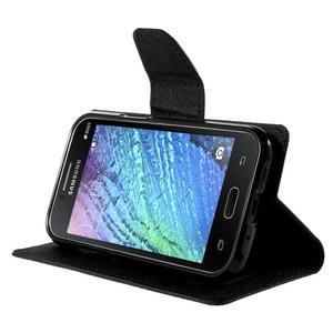 Čierné kožené puzdro pre Samsung Galaxy J1 - 3