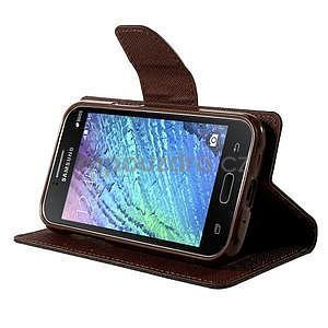Čierné/hnedé kožené puzdro pre Samsung Galaxy J1 - 3