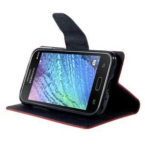 Červené/tmavě modré kožené puzdro na Samsung Galaxy J1 - 3