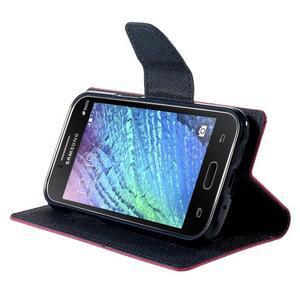 Rose/tmavě modré kožené puzdro na Samsung Galaxy J1 - 3