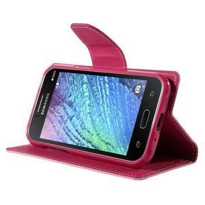 Ružové/rose kožené puzdro pre Samsung Galaxy J1 - 3