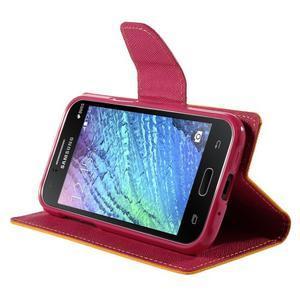 Žluté/rose kožené puzdro na Samsung Galaxy J1 - 3