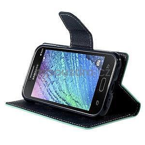 Azurové/tmavě modré kožené puzdro na Samsung Galaxy J1 - 3