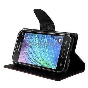hnedé/čierné kožené puzdro na Samsung Galaxy J1 - 3