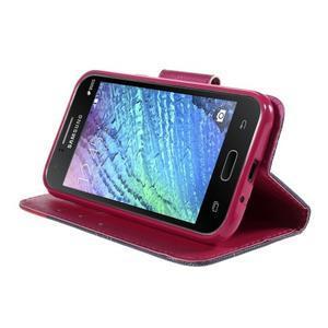 Zapínací puzdro pre Samsung Galaxy J1 - červená kvetina - 3